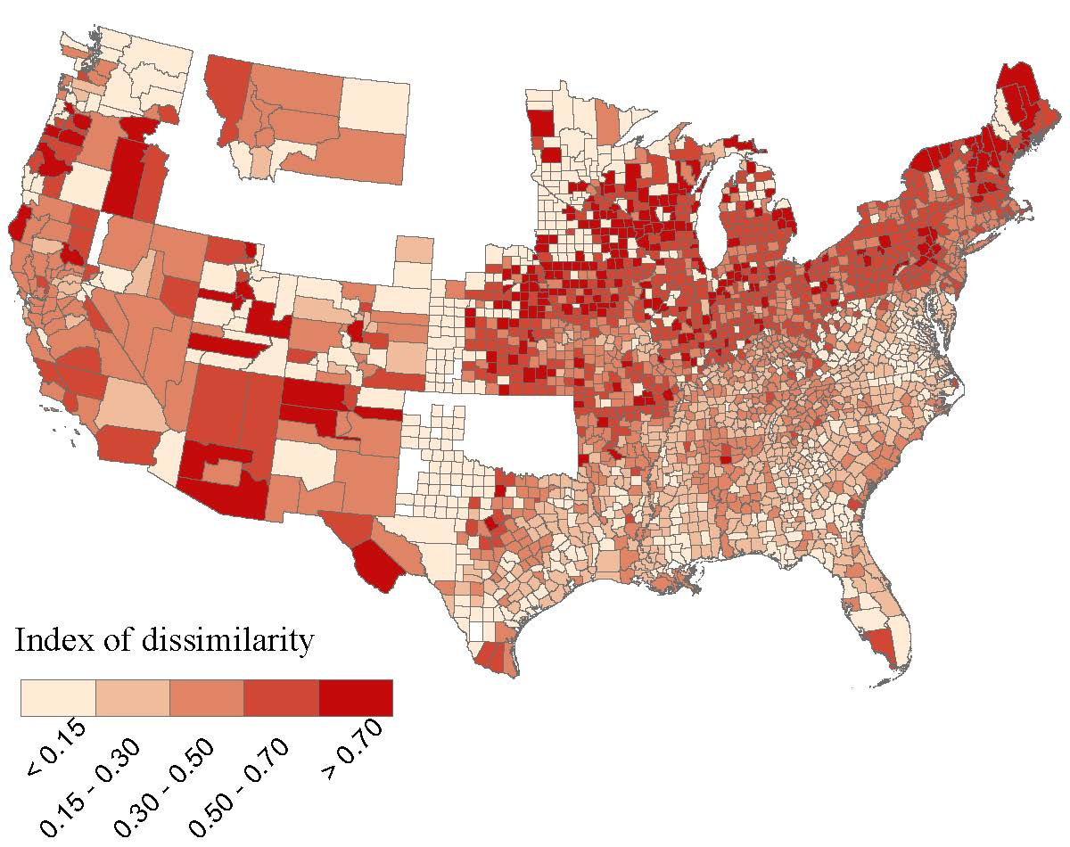 segregation by county for the entire us in 1880 dissimilarity index